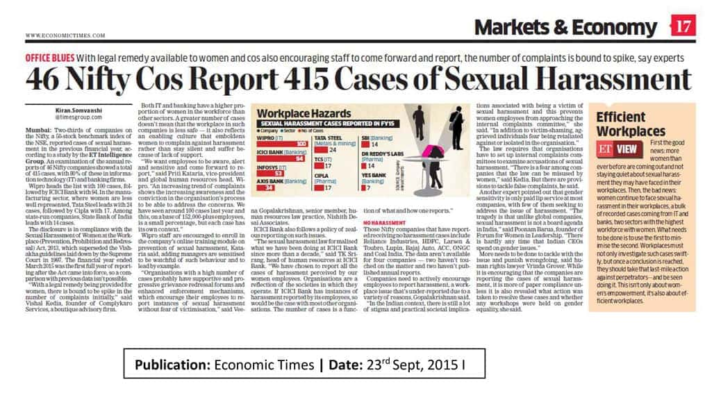 46 Nifty Cos Report 415 Cases of Sexual Harassment